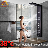 Wholesale tap mixers resale online - Black Thermostatic Digital Shower Panel Faucets Column Rain Waterfall Shower Massage SPA Jets Three Handle Mixer Tap Bath Shower