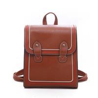 британские школьные сумки оптовых-Retro Pu Leather Backpack Women British College Wind School Shoulder Bags for Teenage Girls Fashion Versatile Travel Back Pack