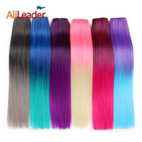 Wholesale colorful hair ombre resale online - 60cm Ombre Clip In Hair Extension Heat Resistant Fake Hairpieces Long Inch Straight Synthetic Full Head Colorful Hair
