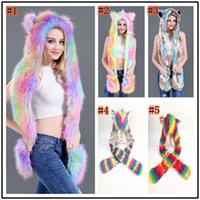Wholesale faux fur baseball caps for sale - Group buy Women Colorful Faux Fur Hat Up Hood Animal Rainbow Hat Wolf Plush Warm Animal Cap With Scarf Gloves Party Scarf Mittens ZZA898