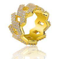 bijoux diamant hiphop achat en gros de-Glacé Diamant Bague Hommes Hip Hop Bijoux Bling CZ Pierre Hiphop Bagues En Or Designer Hommes De Mariage Bijoux