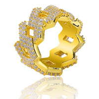 ingrosso foglia d'oro della porcellana-Gioiello con anello di diamanti Iced Out Gioielli hip-hop Bling CZ Stone Anelli d'oro Hiphop Designer Mens Wedding Jewellery