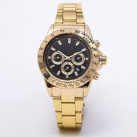 pulseiras de ouro para casais venda por atacado-masculino mens Relogio relógios vestido de luxo designer de moda Preto Dial Calendário pulseira de ouro Fecho dobrável Mestre masculinos 222 presentes casais