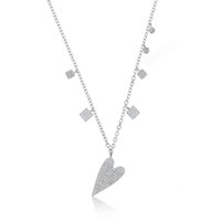 necklaces for girlfriend venda por atacado-2019 new chegou 100% 925 sterling silver presente de Namorados para namorada micro pave cz coração dangle charme colar 925