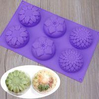 mondform schimmel großhandel-6 cube 3 design flower-shaped silikon backform diy backen handgemachte seifenform sunflower moon kuchenform