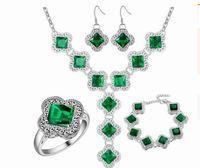 bracelet en diamant couleur achat en gros de-merveilleux haute qualité gratuite expédition plus couleur cristal diamant bide mariage dame collier boucles d'oreilles bague bracelet ensemble (44