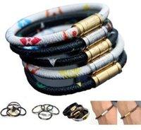 couro homens homossexuais venda por atacado-Bracelete masculino do orgulho de aço inoxidável do bracelete do couro da jóia do arco-íris dos homens para o feriado alegre