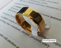 Wholesale womens gold wedding bands resale online - 8mm High polished Stainless Steel Rings Wedding Bands Womens Mens Plain Band Ring Men Black Gold Plated Silver