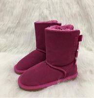 bottes de neige pour enfants de marque achat en gros de-Bottes de neige pour enfants style Australie filles arc mignon dos imperméables Slip-on enfants hiver bottes de cuir de vache marque Ivg EUR 21-35