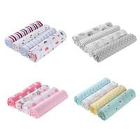 conjunto de lençol de bebê venda por atacado-4 pçs / set bebê meninos meninas cobertores de algodão swaddle infantes toalha de banho lençol recém-nascidos que recebem cobertores