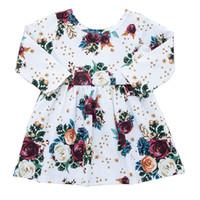 bej gül elbisesi toptan satış-Bebek Kız Elbise Küçük Prenses Elbise Gül Buketi Baskı Elbise Uzun Kollu Yuvarlak Yaka Çiçek Pileli Etek Bej 18