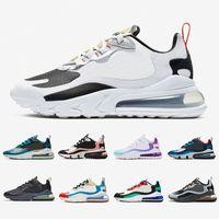 koşu ayakkabıları mavi beyaz toptan satış-Nike air max 270 react shoes BAUHAUS white Blue React men running shoes OPTICAL triple black mens trainers breathable sports outdoor sneakers 40-45