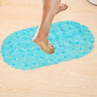massieren duschmatte großhandel-70 * 38 cm Badematten Sucker Oval Pebble Fuß Pad Fußmassage Rutschfeste Badematten Tapis De Bain Memory Foam Duschmatte