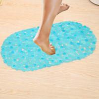 Wholesale pvc massage mats resale online - 70 cm Bath Mats Sucker Oval Pebble Foot Pad Foot Massage Non Slip Bath Mats Tapis De Bain Memory Foam Shower Mat