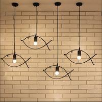 Wholesale black cords for pendants for sale - Group buy Nordic creative Fish Pendant Lamp lights for kids room retro wrought iron fish shape droplight for retaurant cafe light fixture