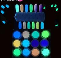 12 Colors set Art Glitter Phosphor Luminous Powder Uv Gel Polish Coat Nail Dust Pigment For Nails Decoration Tools