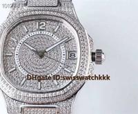 senhoras relógios de prata venda por atacado-Novo 7021 / 1G-001 mulher relógios Extra-Fino Suíço 324C Automático de Safira de Cristal Data de Exibição Platinum Full Diamond Caso relógios de Senhoras