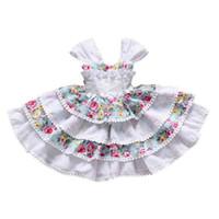Wholesale princess dress cupcakes resale online - Girl Flower Princess Dresses Summer Printed Bow Backless Tutu Mini Cupcake Dress Kids Designer Clothes Girls Kids Dresses Girl Clotning T