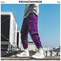 salopette pourpre pour homme achat en gros de-Privathinker Hommes Purple Joggers Pants 2018 Mens Poches Streetwear Cargo Pants Pantalon De Survêtement Male Hip Hop Korean Fashions Salopette Q190416
