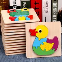 juguetes viejos de madera al por mayor-Juguete para 2 niños de 3 años de edad, niños bebés niños 3D Puzzles madera animales learing juguetes 15pcs animales rompecabezas