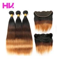 hint remy insan saç sarışın toptan satış-Ombre Frontal hint Düz Saç Ile 3 Demetleri Demetleri Ile Kapatma 13 * 4 T4 / 30 İnsan Saç Demetleri Remy Saç Örgü