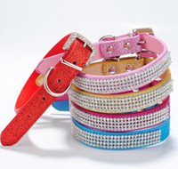 Wholesale dog collar jewelry resale online - Hot selling Rhinestone diamante dog collars fashion PU leather jewelry Pet collar Puppy Necklace Sizes Colors Epacket Free