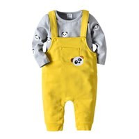 cc74e93765d 2019 spring fashion children kids boys clothing sets long sleeve t shirts  gray with panda printed +yellow overalls size