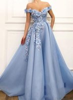 Wholesale light blue party gown resale online - Sexy Light Sky Blue Prom Dresses Off Shoulder Lace Appliques Hade Made Flowers Beaded Open Back A Line Formal Party Dress Evening Gowns