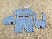 Wholesale clothe girl free shipping for sale - Group buy 3PCS Baby Rompers Hat bibts Baby Boys Girls Clothing Set Cute Jumpsuit Infant Cotton Short Sleeve Kids Clothes for