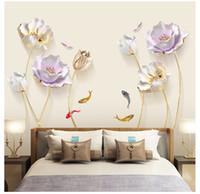 ingrosso poster da fiori 3d-Adesivi murali fai da te Fiore stile cinese 3D Adesivi murali carta da parati Soggiorno Camera da letto Bagno Home Decor Decorazione Poster