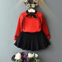 ingrosso gonne lunghe per bambini-Childrens Ins stile coreano lungo modo del manicotto del vestito ragazze dell'orecchio di coniglio Neck T-shirt e Tutu Skirt Set Kids Clothes