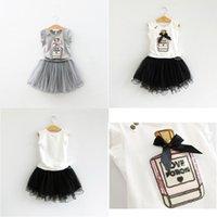 parfüm giysileri toptan satış-Çocuk Giyim Yaz Kız Payet Bow Parfüm Şişesi 2 Renk tişört + Etek