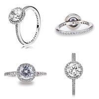 senhoras grande moda anéis venda por atacado-Moda feminina Anéis De Casamento De Luxo 925 Sterling Silver Ring Big Diamond Pandora Anéis Senhora Anel de Noivado Jóias Finas Amante de Presente com Caixa