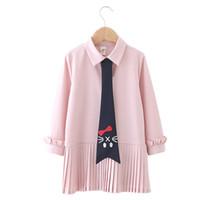 ingrosso cravatta casuale della camicia dei capretti-Kids Girl Summer Dress Casual Vestito a pieghe Kids Designer Abiti manica lunga Solid Shirt Dress Cat Print Tie Soft Sundress Outfit