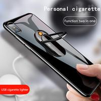 çakmak telefon tutacağı toptan satış-Yaratıcı kişilik cep telefonu tutucu metal şarj çakmak USB elektronik çakmak