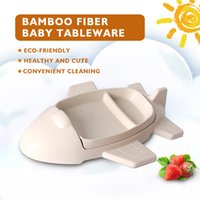 Wholesale dinnerware set cartoon for sale - Group buy Bamboo Fiber Children Tableware Dishes Beige Cartoon Aircraft Shape Dinnerware Sets Bowl Kid Children Rice Feeding Plate