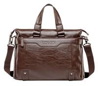 Wholesale men s messenger bags resale online - Designer Brand Man Bag Leather Black Briefcase Men Business Handbag Messenger Bags Male Vintage Mens Shoulder Bag Large Capacity
