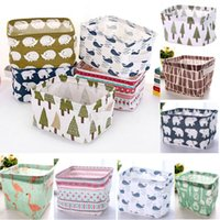 Wholesale organize toys resale online - DIY Storage Basket For Office Desktop Organize Folding Linen Toy Storage Box Pastoral Floral Animal Jewelry Makeup Organization WX9