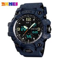 relógio impermeável para exibição digital homens assistir venda por atacado-SKMEI Marca Top Sport Watch Militares Digital Relógios 5 Bar Waterproof Dual Display de pulso Relogio Masculino frete grátis 1155B