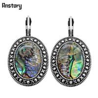jade oval großhandel-Baumeln Ohrringe Vintage Runde Oval Shell Manschette Ohrringe Für Frauen Antikes Silber Überzogene Modeschmuck TE383