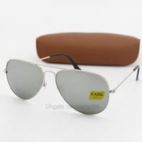 rahmen 62 großhandel-50 stücke Mode Pilot G15 Glaslinse Sonnenbrille Frauen Männer Txrppr Sonnenbrille Brillen UV400 Silber Metallrahmen 58 MM 62 MM Spiegel Eyewear Mit Box