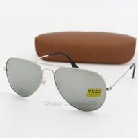 monture argentée avec lunettes de soleil achat en gros de-50pcs mode pilote lunettes de soleil en verre lentille g15 femmes hommes txrppr lunettes de soleil lunettes UV400 monture en métal argent 58MM 62 MM miroir lunettes avec boîte