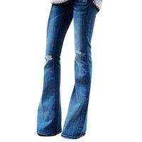 ausgedehnte stretch-jeans-frauen groihandel-Mode frauen jeans denim loch weibliche mittlere taille stretch dünne flare hosen jeans de mujer * 40