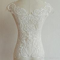 ingrosso materiali perline-Appliques in pizzo fatti a mano con fiore francese bianco con perline per materiali di design retro abito da sposa XW006