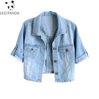 Frauen plus Größe S 4XL 2019 neuer Frühlings Sommer koreanischer Kurzschluss Jacken Ausdehnungs kurzärmlige Denim Jacke dünne hellblaue Jeans Mäntel