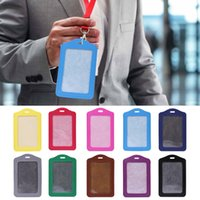 окно держателя карты оптовых-10 Colors ID Window Business Work Card Holder Leather Case Badge Vertical Type