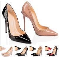 zapatos zapatillas 14cm al por mayor-Christian Louboutin CL Zapatos de diseño de zapatillas de deporte So Kate Styles Zapatos de tacón alto Zapatos de tacones bajos rojos 12CM 14CM Bombas de punta de cuero genuino Punta de goma 35-42