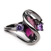 Wholesale purple stainless steel ring band resale online - Hot Fashion Luxury Vintage Purple Zircon Crystal Colorful Rings For Women Wedding Engagement Jewelry Electroplate Stainless Steel Rings