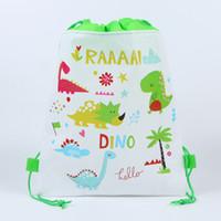 mochilas con cordón al por mayor-Dinosaurio lona de los niños del morral del lazo para niños 3D impresos bolsas no tejidas bolsa de las Dibujar cadena bolsa bolsas de la escuela de los muchachos de cable de mochilas