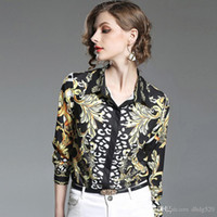 oro han al por mayor-Chic Han Feng Shirt 2019 Spring New Pattern Fashion Suit-dress Productos competitivos Autocultivo Black Gold Printing Long Sleeve Jacket